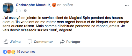 avis facebook magical spin
